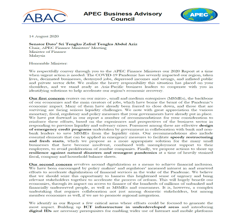 ABAC 2020 Report to APEC Finance Ministers